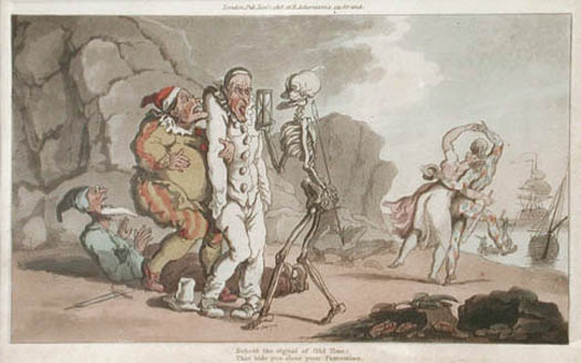 The Pantomime from The English Dance of Death by Thomas Rowlandson, 1815. This aquatint engraving details the folly of man due to his own senseless actions.