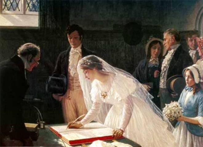 Edmund Blair Leighton (1853-1922), Signing the Register, Bristol City Museum and Art Gallery UK, The Bridgeman Art Library.