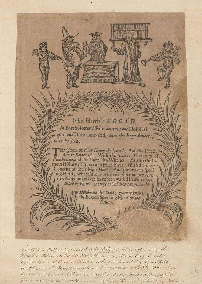 Advertisement for John Harris's Puppetry Booth, Bartholomew Fair, ca 1700, courtesy Houghton Library at Harvard University.
